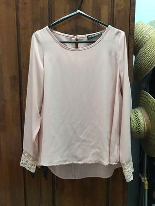 Dorothy Perkins Baby Pink Lace Flared Blouse