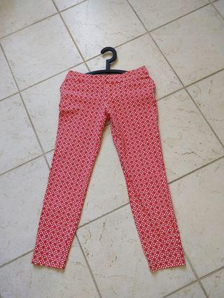 Pants-watermelon red