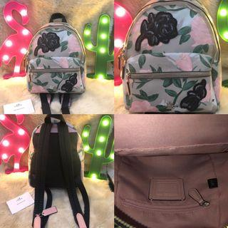 coach mini charlie backpack camo rose