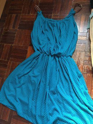 Turquoise Green Cotton Polka Dot Dress #APR75 #OYOHOTEL