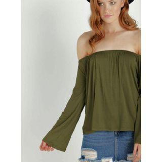 Cotton on petrova long sleeve off the shoulder top - olive #GayaRaya
