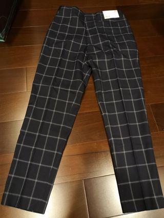 🚚 Uniqlo 鬆緊格子長褲 (深藍)