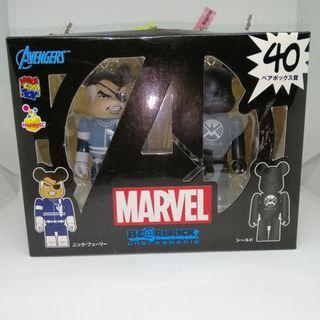Bearbrick x Marvel Comics Avengers Nick Fury & SHIELD logo figures (genuine licensed)