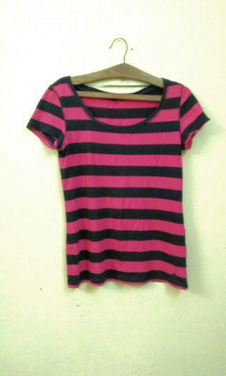 Pink and black Stripes Top short sleeves #GayaRaya