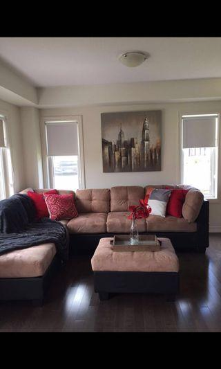 SELLING L-shaped couch & ottoman
