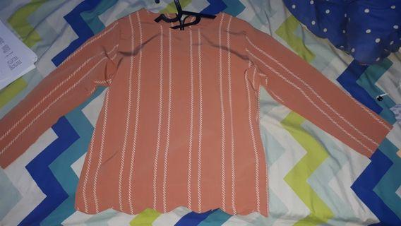 Mididress dusty pink stripes