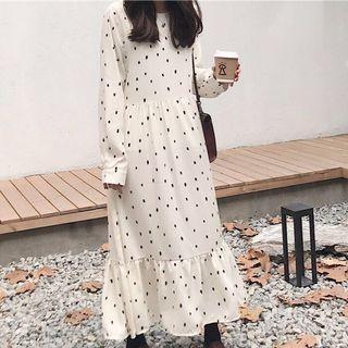 🚚 波點雪紡連身裙 白