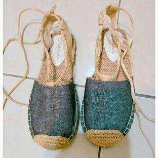 🚚 女神款海邊渡假風藤編綁帶涼鞋前包後空草鞋韓版羅馬涼鞋編織鞋平底涼鞋37號23.5號