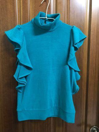 E POISSON 香港製 藍綠色 花枝衣 針織 毛衣 立領 瘦手臂設計