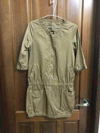 咖啡金色 連身裙 帥氣洋裝 包臀 七分袖