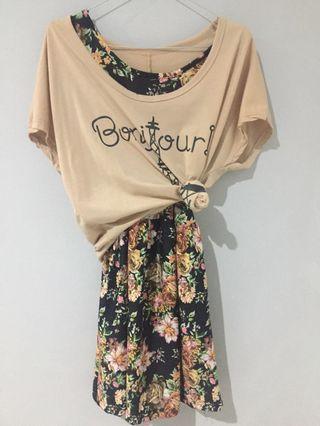 Dress motif bunga + baju