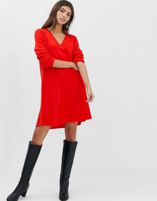 Asos design v neck dress in fine knit dress rajut warna merah