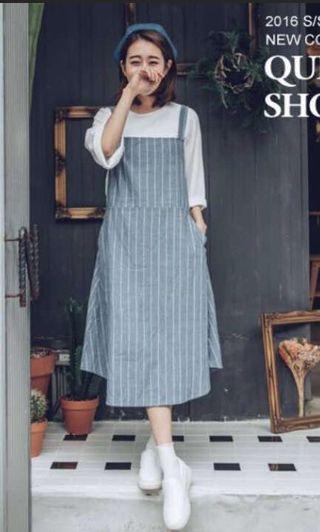 Queen shop 藍白條紋棉麻長洋裝