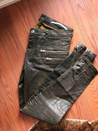 Zara Army Green Waxed Moto Jeans Size 26