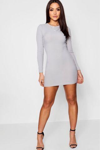 Grey Long Sleeve Ribbed Dress