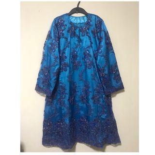 Exclusive Embroidered Sequins Kurung Modern Pahang. Size L. Well kept in packaging