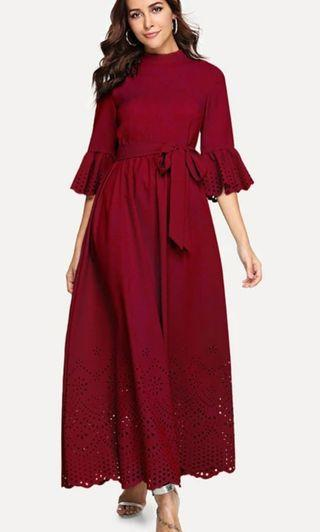 BRAND NEW SCALLOP RED/BURGURDY MAXI/LONG DRESS