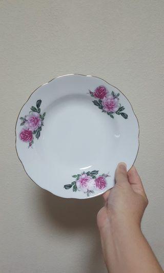 Vintage Two Rose wavy Rim Plate x 4