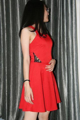 Red Dress, dress merah, lace dress, mini red dress