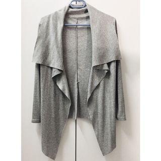 🚚 灰色羅紋剪裁開襟外罩 薄外套