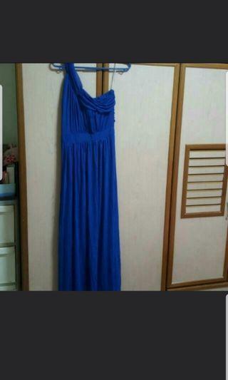 Blue long toga evening gown - Size L