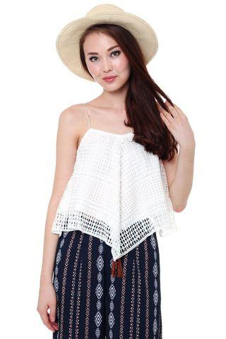 Clearance! MDS Pearlyn Crochet Top White M