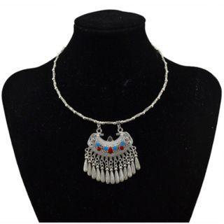 Bohemian Vintage Silver Gypsy Collar Necklace