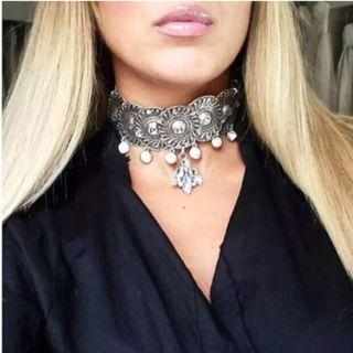 Vintage Silver Crystal Rhinestone Choker Necklaces