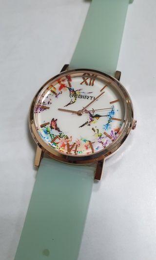 🚚 春紛鳥語質感錶 玫瑰金邊框 蒂芬妮綠錶帶