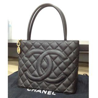 Authentic Chanel Medallion in Black Caviar w/ Gold hardware