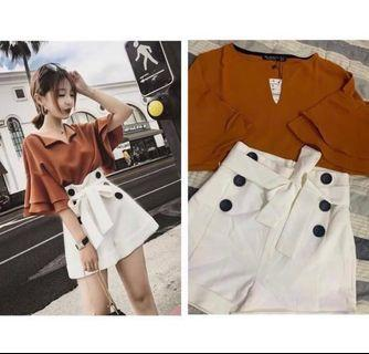 BNWT Classy Lady Brown top + White shorts One Set