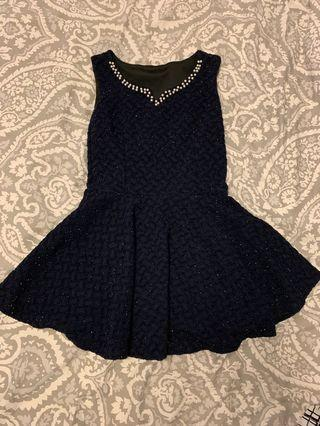 Sparkly skater dress with pearls