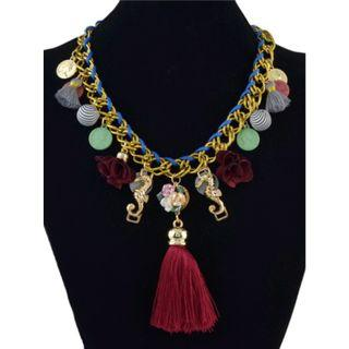 Trendy Flower Tassels Thread Acrylic Coin Gold Plated Necklace