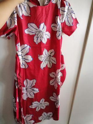 Mid Length Red Floral Dress