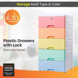 Drawers with lock ✔FREE DELIVERY: Rainbow 5 tier storage