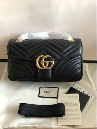 Gucci Marmont Small Metellase Black with aged gold hardware