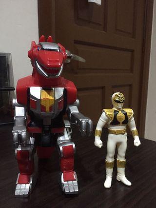 Mighty Morphin Power Rangers lot (White Ranger and Tyrannosaurus Zord) sofubi
