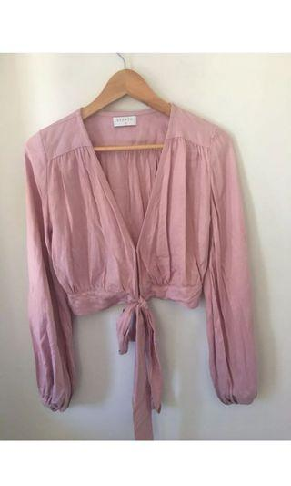 Steele felice pink crop wrap long sleeve top. Perfect consition