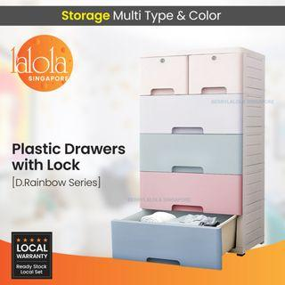 ✔FREE DELIVERY: D.Rainbow Series Plastic Drawers with lock. (OUT OF STOCKS)