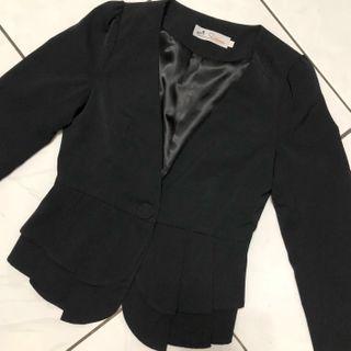 🚚 近全新 正韓 韓國製 黑色西裝外套 西外 花邊裙 腰身顯瘦 上班族 🇰🇷