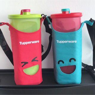Tupperware Smiley fridge bottle with pouch and free strainer