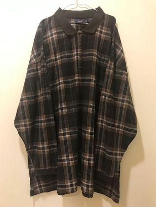 古著 格紋大尺寸POLO衫 長裙 / Vintage Plaid Oversize Polo Shirt Dress Skirt