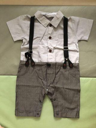 WORE ONCE Baby Boy Formal Suspenders One Piece Romper Suit (FOC MAILING)