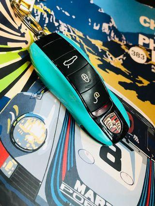 Porsche Turquoise side with Carbon center car key cover
