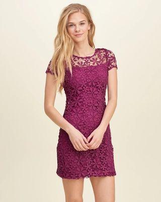 Hollister紫色蕾絲顯白顯瘦短袖連身裙HCO purple lace dress A&F Abercrombie & Fitch AF AEO