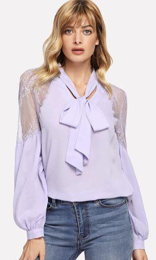 Lavender lace chiffon blouse