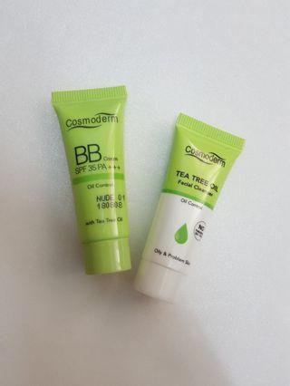 Cosmoderm BB cream & Tea Tree Facial Cleanser