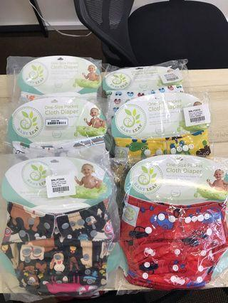 Reusable Cloth Diapers From Babyleaf 6 Pieces Boy Girl Unisex Design