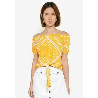 yellow off shoulder tie top