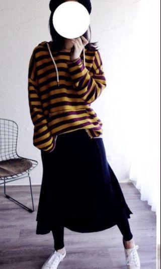 韓。韓妞不規則裙擺磨毛內搭褲。黑色